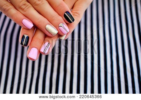 Natural nails, gel polish. Stylish Nails, Nailpolish. Nail art design for the fashion style.