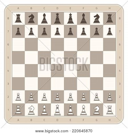 Chess board with chess figures. Wooden square checkmate board with numbers and letters. Ready to play game. Vector illustration. EPS 10.