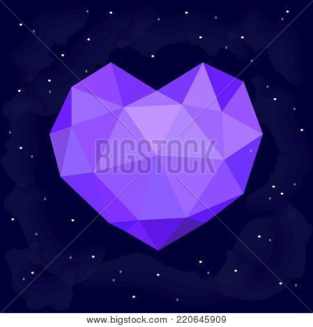 Poligonal heart on the dark night sky with stars. Vector background for valentine's card, love poster and wedding, greeting, invitation cards