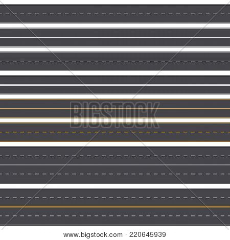 Set of straight asphalt roads with different markings. Seamless road background template. Vector illustration. EPS 10.