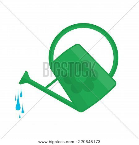 Green watering can in flat style with a trickle of water. Gardening tool icon isolated on white background. Farming equipment.