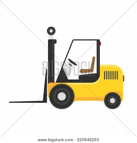 Forklift truck in flat style isolated on white background. Loader vector icon. Industry cargo equipment, fork lift and delivery, shipping concept. EPS 10.