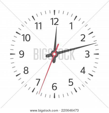 Clock face with hour, minute and second hands and numbers. Vector illustration in simple design, isolated on white background. EPS 10.