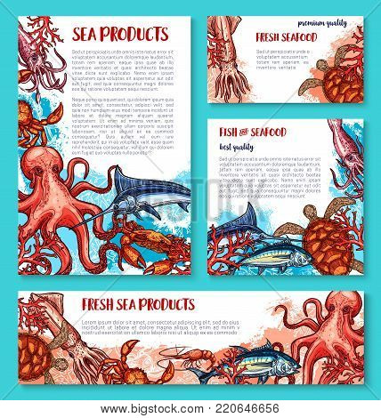 Seafood and fish or sea food sketch poster and banner for fishing market or fisher sport shop. Vector design of squid, tuna or cuttlefish and fresh octopus or lobster crab and shrimp or marlin