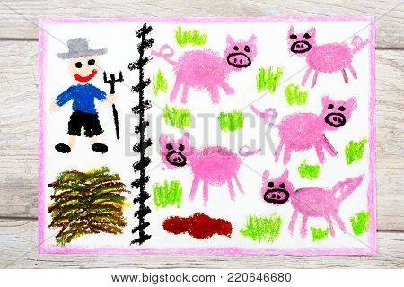 Photo of colorful hand  drawing: Breeding pigs