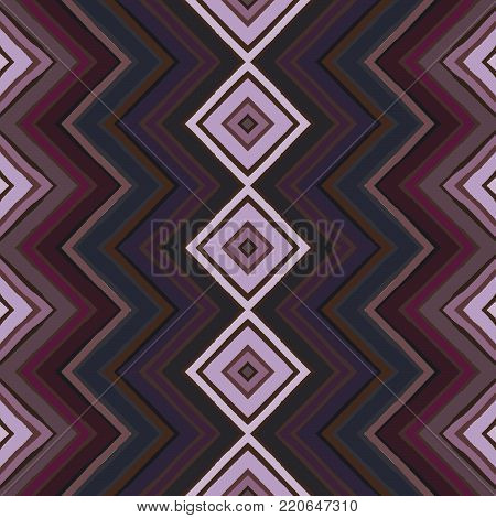 Seamless abstract geometric pattern. Hand drawn stripes in zigzag and rhomboid layout, cool mauve winter hues. Grunge texture, relaxed geometry. Textile print. Wallpaper.