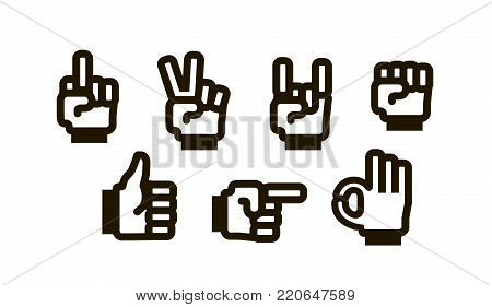 Hand gesture set of icons. Gesturing symbol. Vector illustration isolated on white background