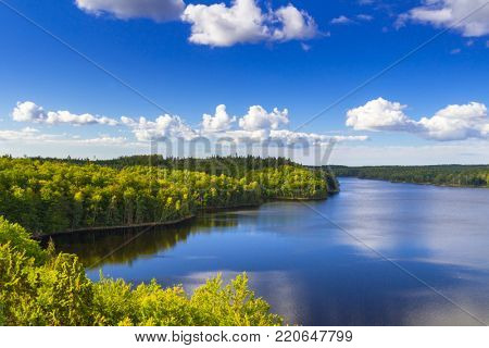 Idyllic lake scenery in summer time, Sweden