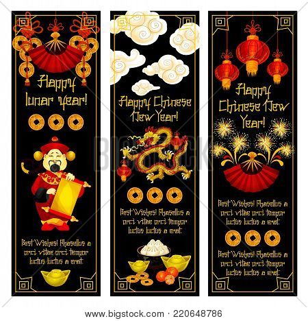 Chinese New Year banner set. Dancing dragon, god of wealth and folding fan greeting card, decorated by spring festival lantern, golden coin, firework and gold ingot for Oriental Lunar New Year design