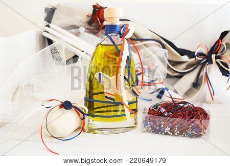 greek Christening oil, soap, candles and baptism bracelets