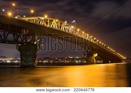 Auckland Harbour Bridge by night, New Zealand
