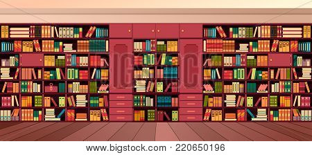 vector illustration library shelves bookshelves library flat style