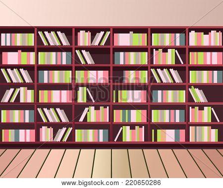 vector illustration library shelves bookshelves library flat style