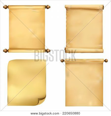 The collection is clean, detailed, realistic ancient scrolls of papyrus on a white background. Vector illustration.