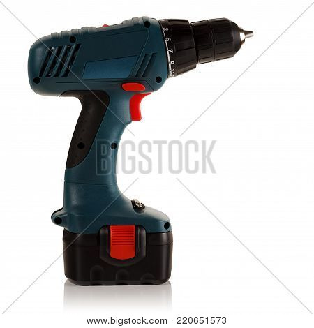 Battery drill screwdriver on a pure white background