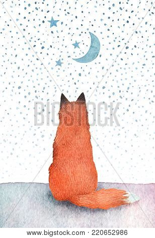 Hand painted watercolor illustration of a lonely fox watching the starry sky. Children book illustration or a greeting card.