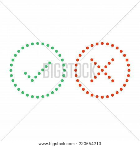 Thin dot check mark icons set isolated on white background. Green tick and red cross checkmarks buttons in flat style. Yes or No confirm or reject signs. Vector illustration EPS 10.