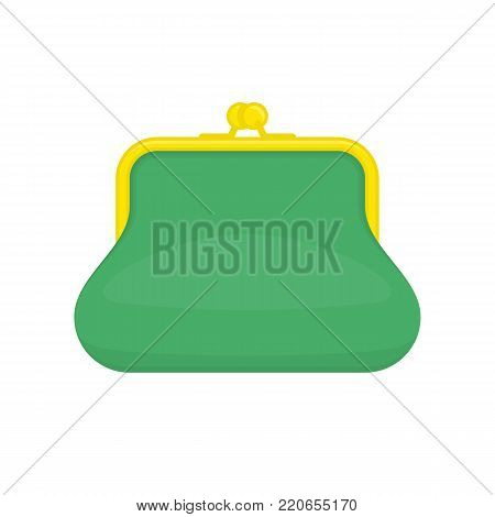 Green purse icon for web, mobile and infographics. Purse for coins, isolated on white background. Business and finance symbol. Vector illustration in flat style. EPS 10.