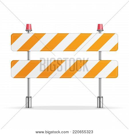 Under Construction Barrier isolated on white background. Symbols of restricted area which are in under construction processes. Fence of building or repair works sign. Vector illustration in flat style