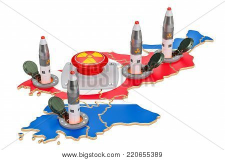 North Korean nuclear button concept. Korean missile launches from its underground silo launch facility, 3D rendering