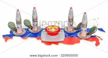 Russia nuclear button concept. Russian missile launches from its underground silo launch facility, 3D rendering