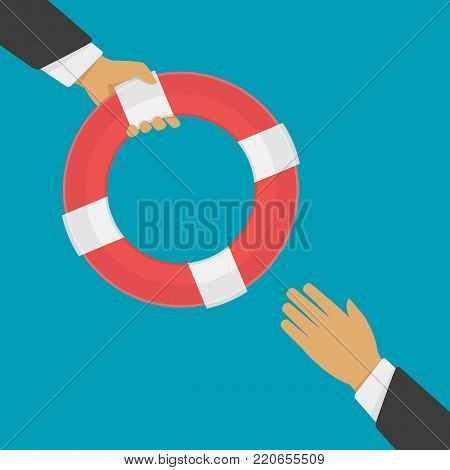 Businessman holding a lifebuoy in hand. Helping business to survive concept. Drowning man getting lifebuoy from another man. Help, support, survival or investment concept. Vector illustration EPS 10.