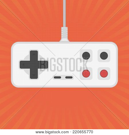 Retro Game controller gamepad in flat style. Vintage joystick isolated on bright background. Control console for video games. Vector illustration EPS 10. poster