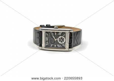 wrist mens watch with black leather band with white background