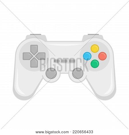 Game controller gamepad in flat style. Joystick icon isolated on white background. Control console for video games. Vector illustration EPS 10.