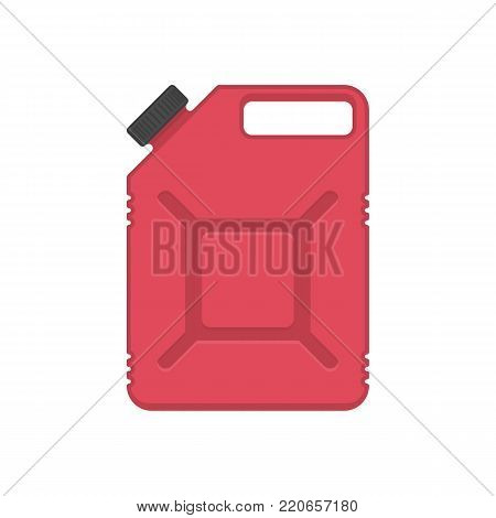 Gasoline Canisters in flat style, isolated on white background. Red Jerrycan for petrol or engine oil. Fuel container jerry can icon. Vector illustration EPS 10.