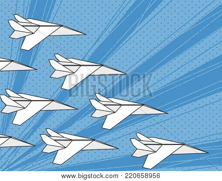 Concept of team work, the right direction, business strategy. White paper airplanes in blue sky flyingin in one direction. Pop art style. Vector illustration