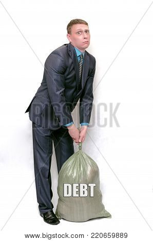 Businessman and debts money bag isolated on white background. Pay the debts concept. Bankrupt.