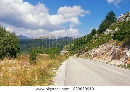 Road in the mountains. Balkans, Montenegro,  near Niksic town