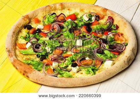 American Pizza With Crunchy Edges. Take Away Food With Pepper
