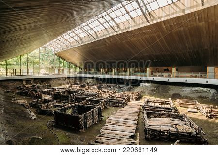 Brest, Belarus - June 6, 2017: Archaeological Monument Of Authentic East Slavic Wooden Town Of 13th Century In Berestye Archeological Museum.