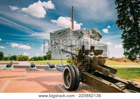 Brest, Belarus - June 6, 2017:  Garrison Cathedral St. Nicholas Church, Memorial Monument Bayonet - Obelisk And Main Monument In Memorial Complex Brest Hero Fortress In Sunny Summer Day.
