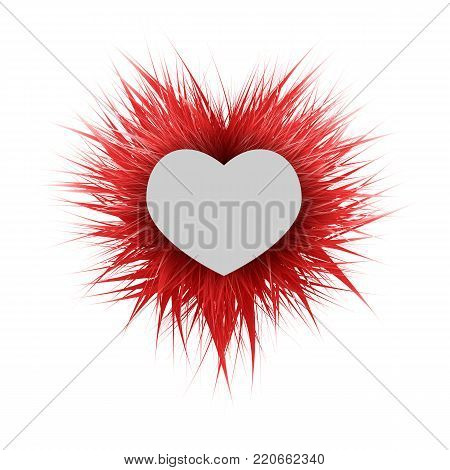 Shaggy bright fluffy ball with a paper heart.Can be used as a frame for the text of congratulations on Valentines Day.