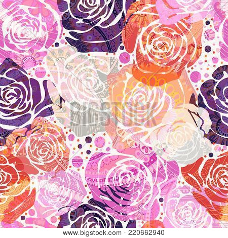 Bright floral pattern with stylized roses. Vector illustration with hand drawn roses