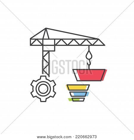 Build a Sales Funnel vector line icon. Internet marketing concept.