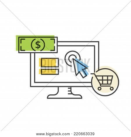 PPC advertising and conversion vector line icon. Internet marketing concept.