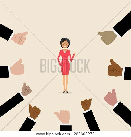 Cartoon character.Successful businesswoman with many thumbs up.Business vector concept illustration