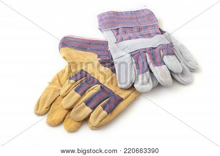safety gloves on white background. Protective worker gloves