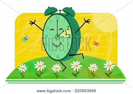 Conceptual clip art of daylight saving time with happy clock on a spring day. Eps10