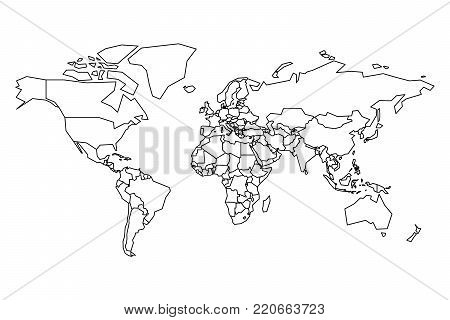 Political map world vector photo free trial bigstock political map of world blank map for school quiz simplified black thick outline on gumiabroncs Image collections