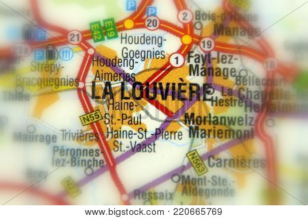 La Louvière, a Walloon city located in the Belgian province of Hainaut (Europe).