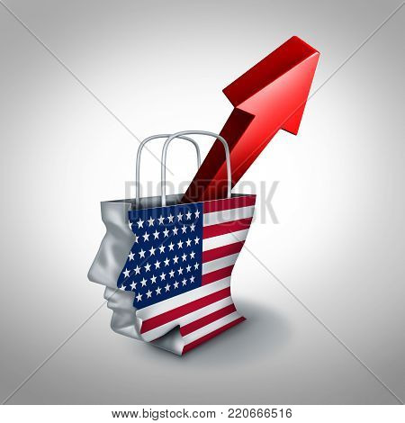United States consumer confidence rise in a rising American market of goods and services and surging success of US retail industry and economic growth concept as a 3D illustration.