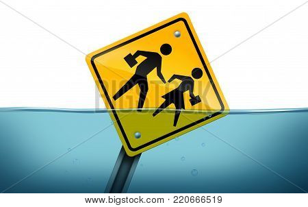 Student problem and academic learning trouble concept as a traffic street sign with students drowning underwater as an education struggle symbol with 3D illustration elements.
