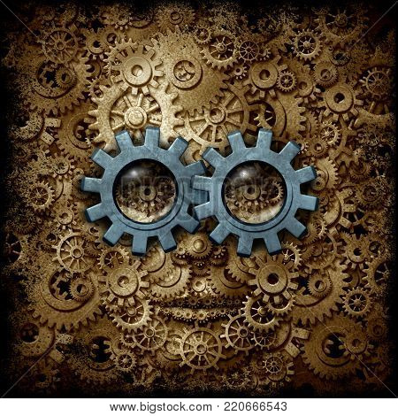 Steam punk or steampunk sci-fi or science fiction human head made of gear and cog machine wheels as a business or psychology metaphor as a 3D illustration,