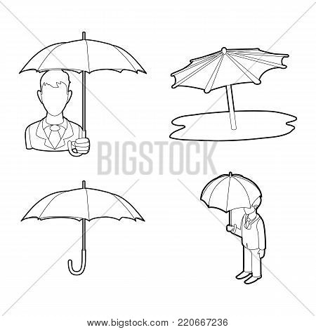 Umbrella icon set. Outline set of umbrella vector icons for web design isolated on white background