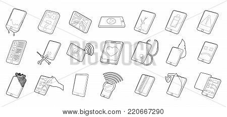 Smartphone icon set. Outline set of smartphone vector icons for web design isolated on white background